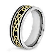 Coastal Jewelry Black Carbon Fiber With Gold Plated Celtic Design Ring