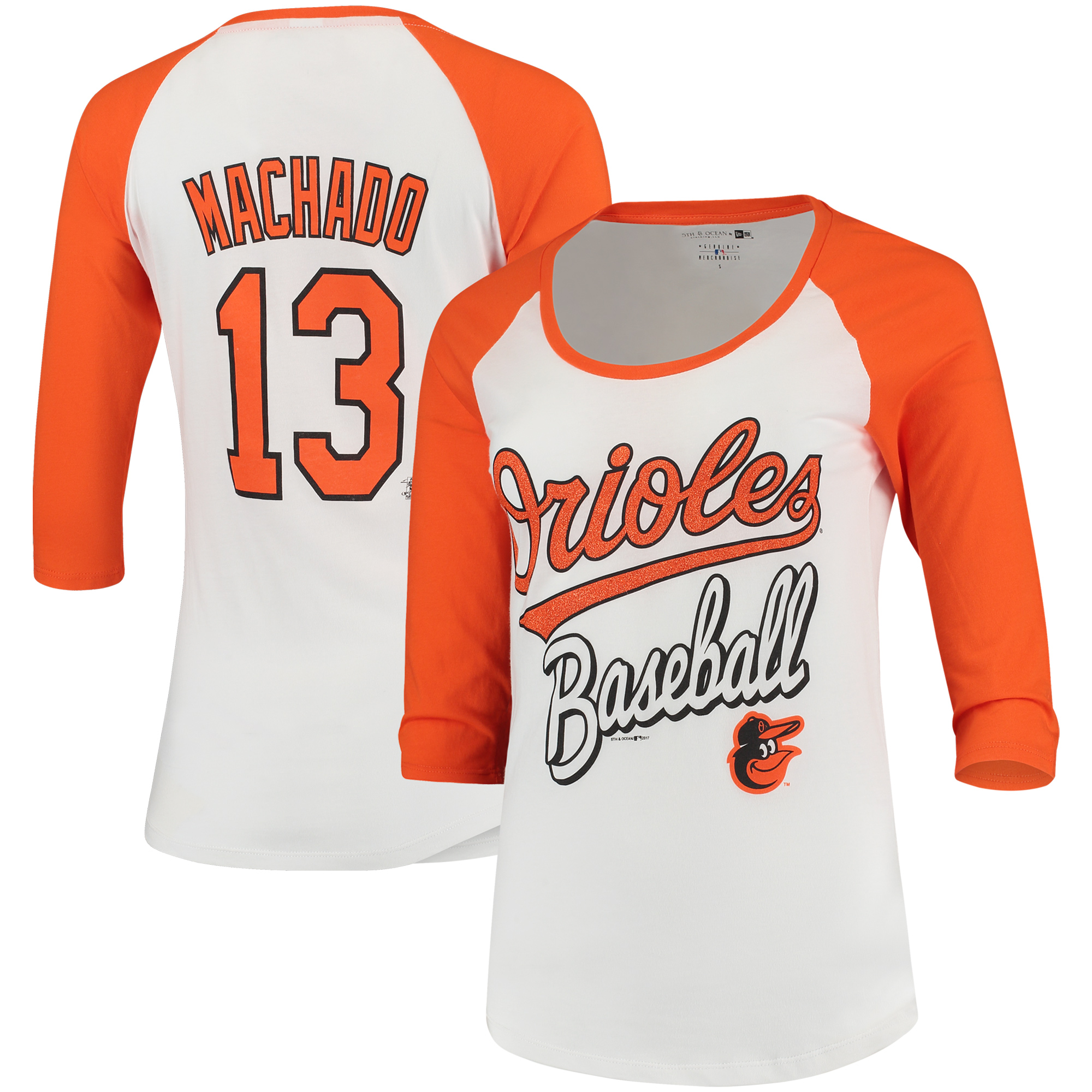 Manny Machado Baltimore Orioles 5th & Ocean by New Era Women's Glitter 3/4-Sleeve Raglan T-Shirt - White/Orange