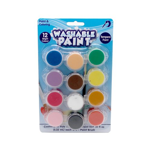 Kids Craft Washable Paint, 12 Pots