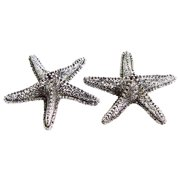 Starfish Salt and Pepper Shakers Set Cast Metal Silver 3 Inch
