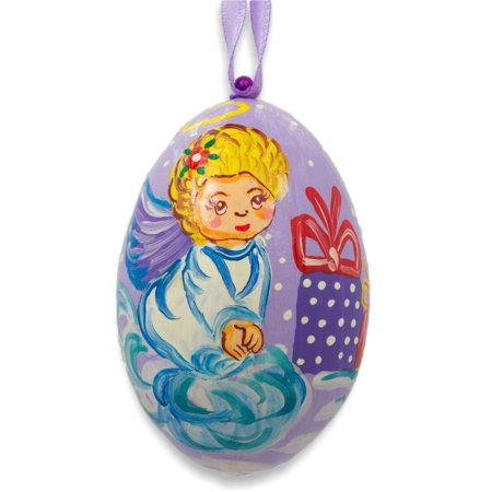 Angel on Cloud with Gift Wooden Christmas Ornament 3 Inches