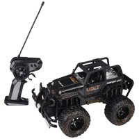 Mud Monster Jeep Wrangler Convertible Electric RC Off-Road Truck 1:16 Scale RTR w/ Working Headlights, Custom Mud Splatter Paint Job (Colors May Vary)