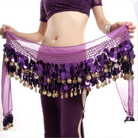MarinaVida Belly Dance Costume Hip Scarf Tribal Hip Belt Skirt Silver Gold (Scarf Coin Belt Belly Dance)