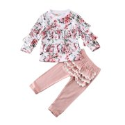 Toddler Baby Girl 2PCS Winter Clothes Floral Tops T-Shirt + Ruffle Pants Outfits