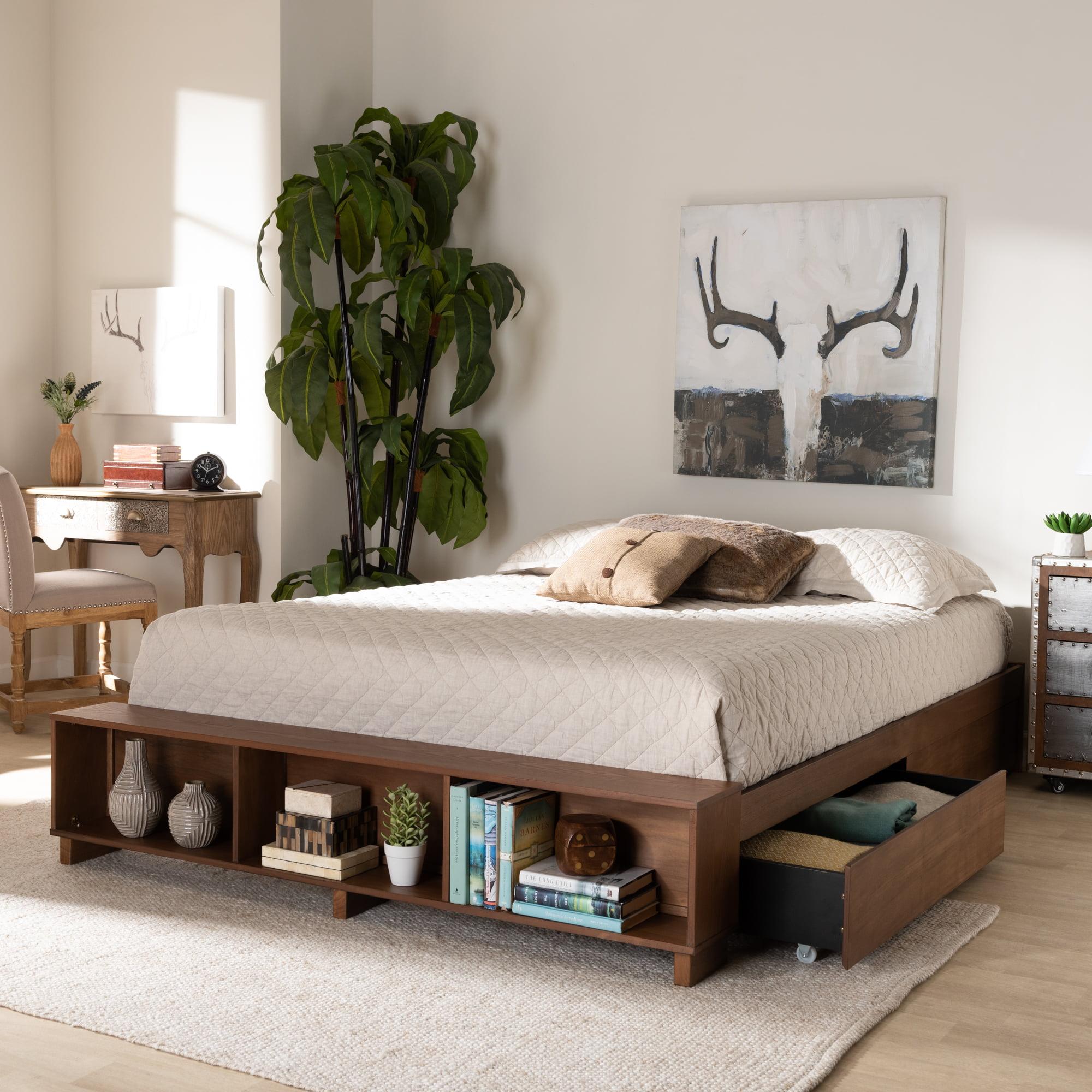 Baxton Studio Arthur Modern Rustic Ash Walnut Brown Finished Wood King Size Platform Bed With Built In Shelves Walmart Com Walmart Com