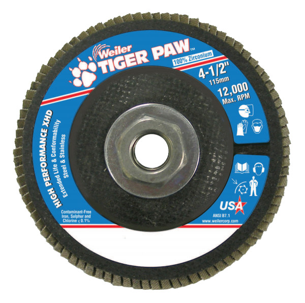"Tiger Paw Super High Density Flap Discs, 4 1/2"", 36 Grit, 5/8 Arbor, 12,000 rpm"