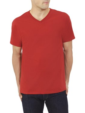 Fruit of the Loom Men's and Big Men's Platinum Eversoft Short Sleeve V Neck T Shirt, Up to Size 4XL