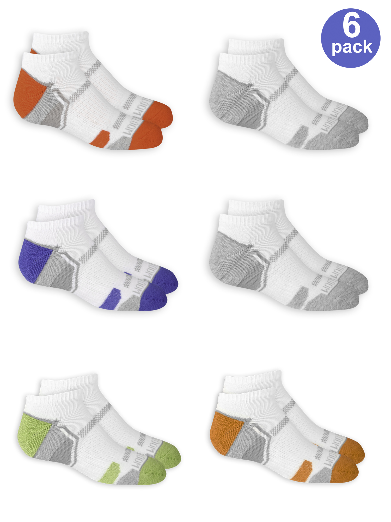 Fruit of the Loom Boys Everyday Active Cushioned No Show Socks 6 Pair