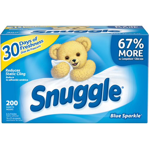 Snuggle Blue Sparkle Fabric Softener Dryer Sheets With Fresh Release, 200ct