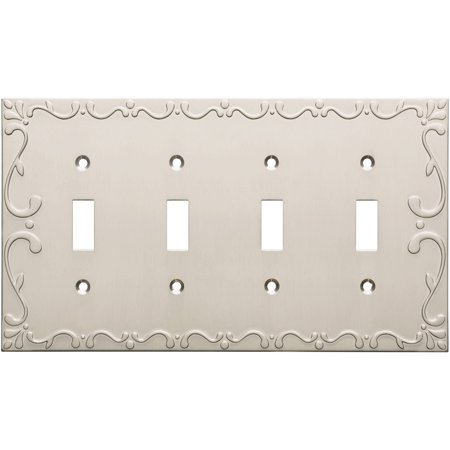 Franklin Brass Classic Lace Quad Switch Wall Plate in Satin Nickel