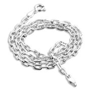 """3mm Sterling Silver Anchor Open Box Link Chain Necklace 20"""""""