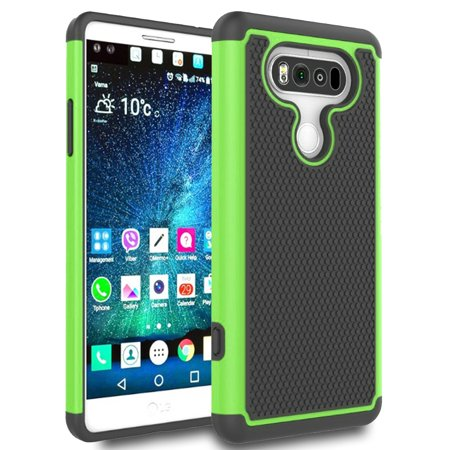 SOGA LG V20 Case, [Smart Defender Series] Shockproof Slim Hybrid Grid Armor Case for LG V20 - Green