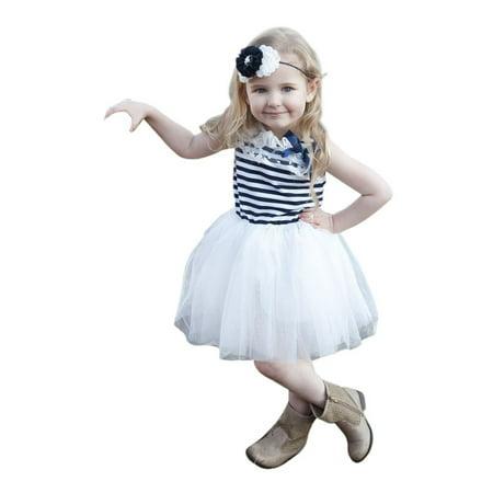 Nautical Girl (Think Pink Bows Little Girls Navy White Stripe Angie Nautical Dress)