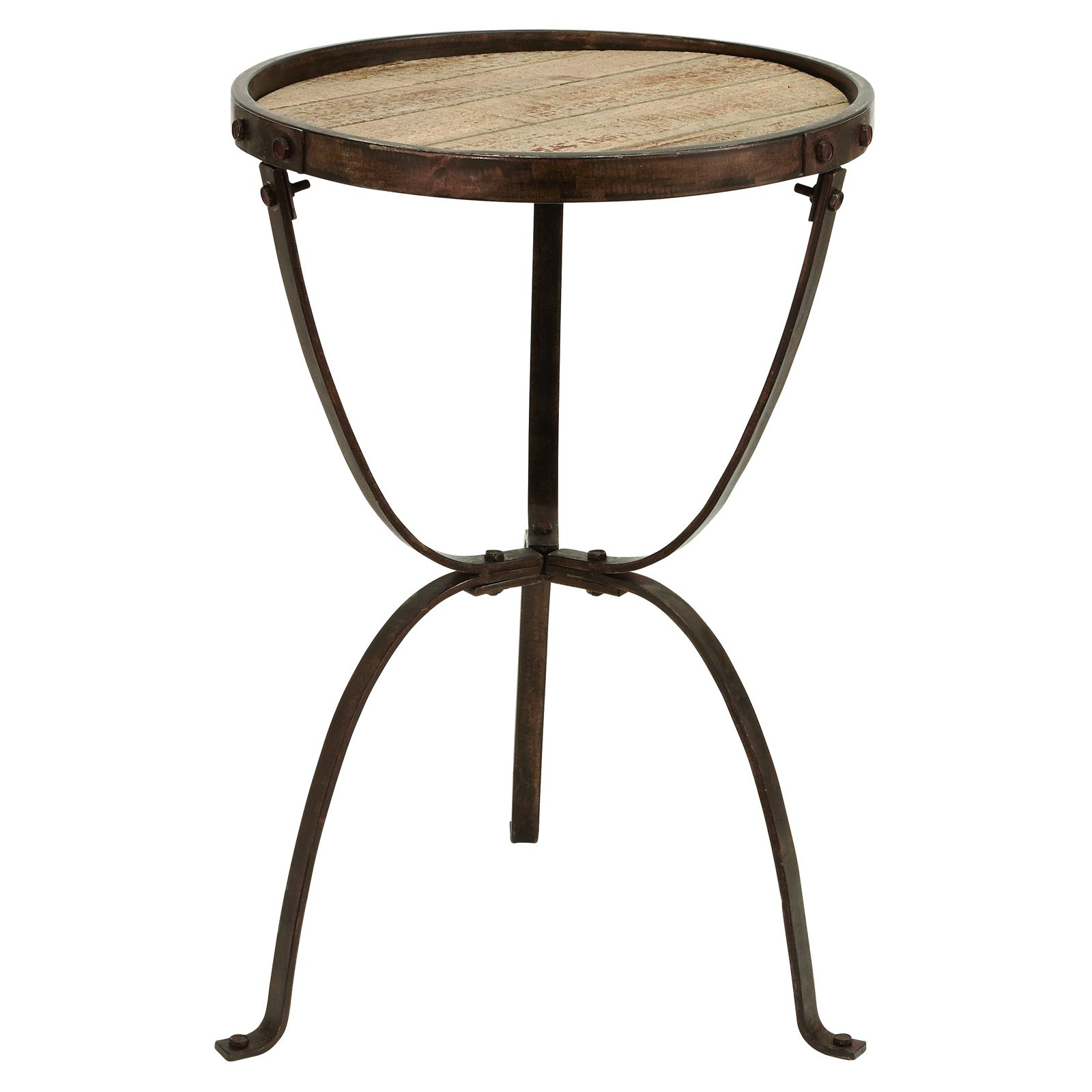 Decmode Metal and Wood Accent Table, Brown