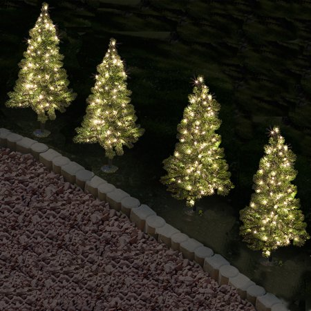 Christmas Pathway Lights.3 Ft Tall Christmas Pathway Tree With 70 Warm White Led Lights 4 Pack