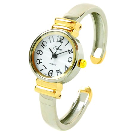 - 2Tone Metal Band Petite Size Women's Bangle Cuff Watch