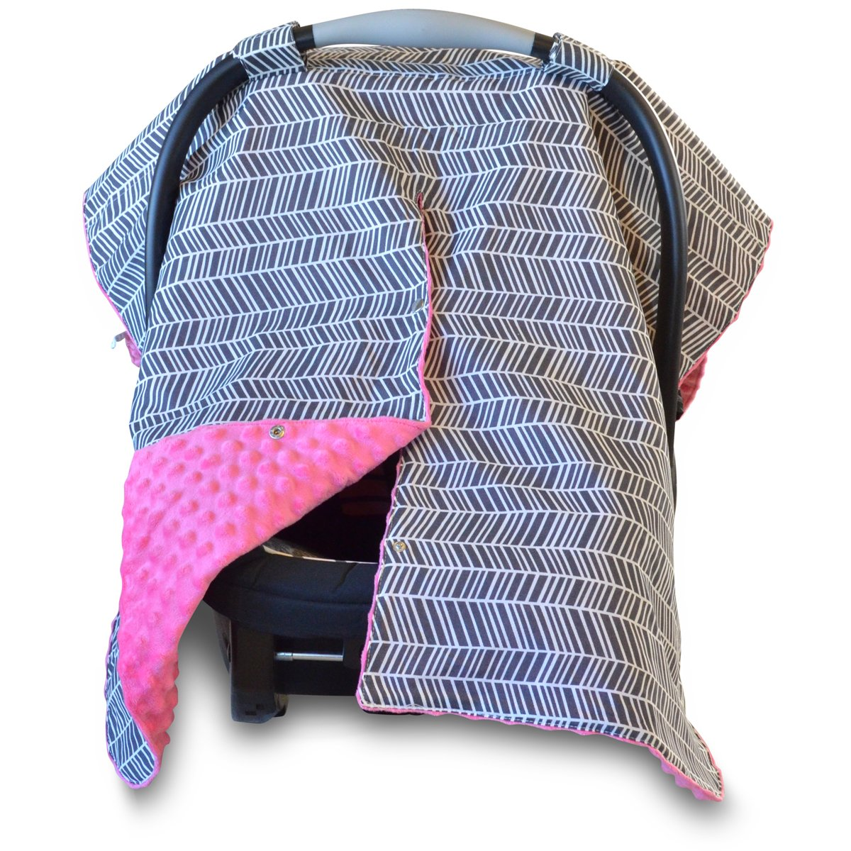 Kids N' Such 2 in 1 Car Seat Canopy Cover with Peekaboo Opening™ - Large Carseat Cover for Infant Carseats - Best for Baby Girls - Use as a Nursing Cover - Herringbone with Hot Pink Dot Minky