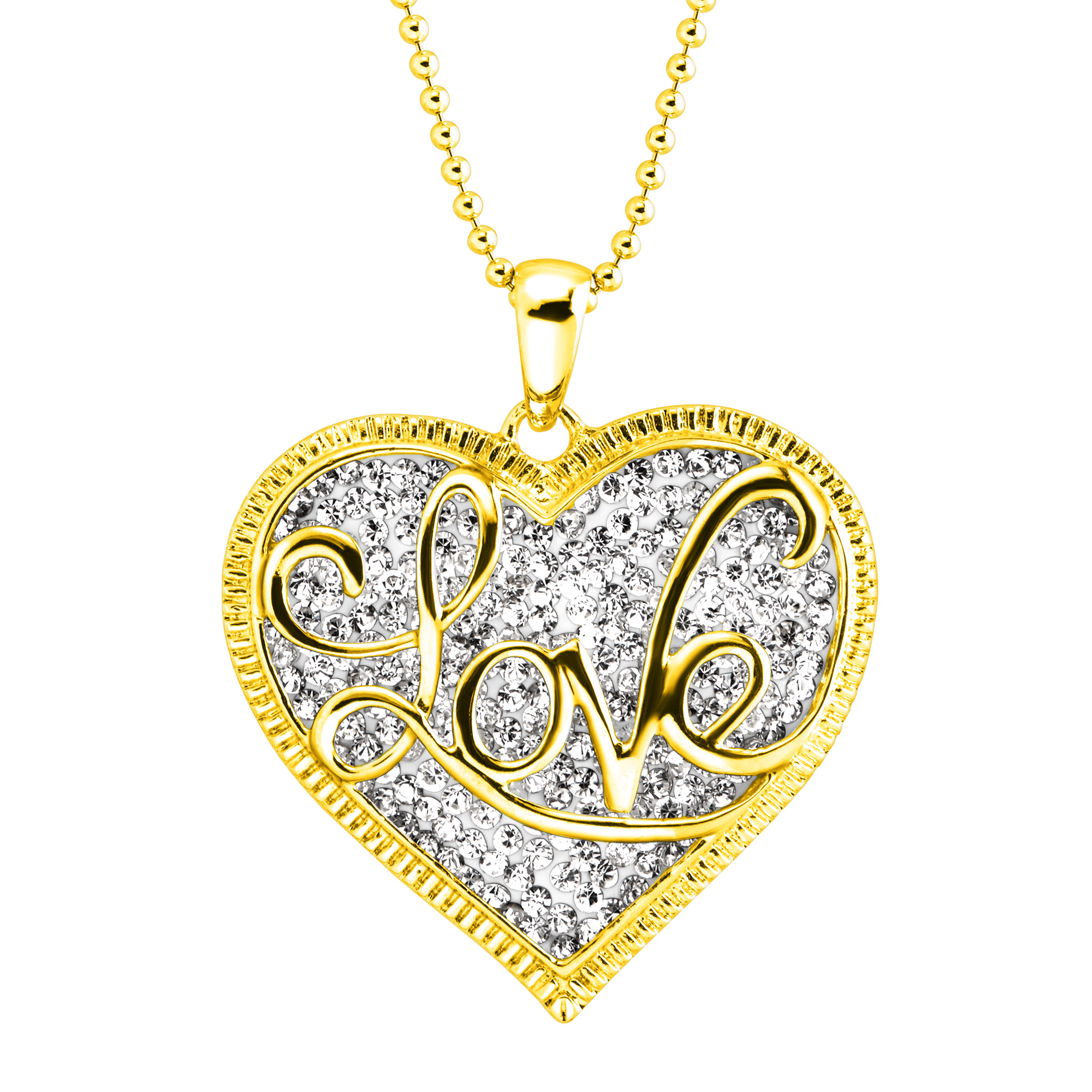 Luminesse 'Love' Script Overlay Pendant Necklace with Swarovski Crystals in 18kt Gold-Plated Sterling Silver