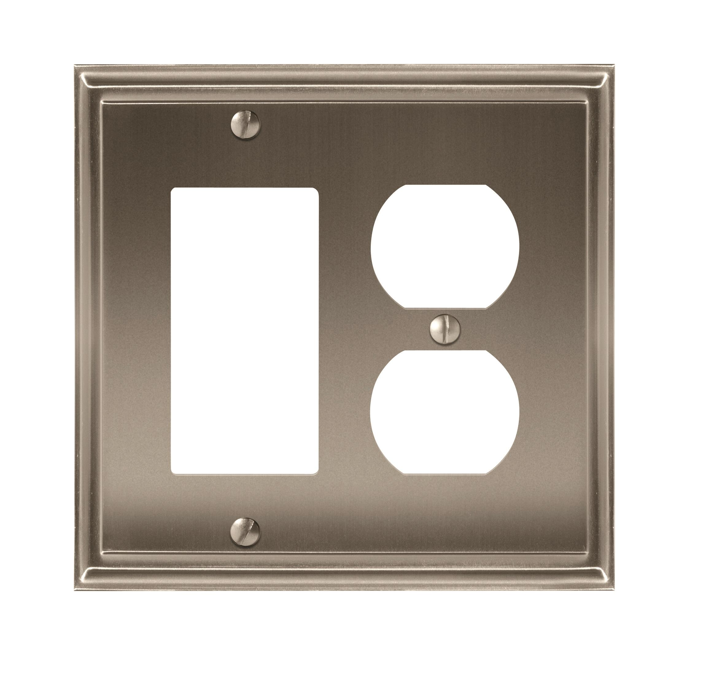 Mulholland 1 Rocker, 1 Receptacle Satin Nickel Wall Plate