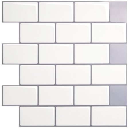"Art3d Peel and Stick Backsplash Tiles White Kitchen Backsplash Tiles in Subway Design(12"" x 12"" 1 Piece)"