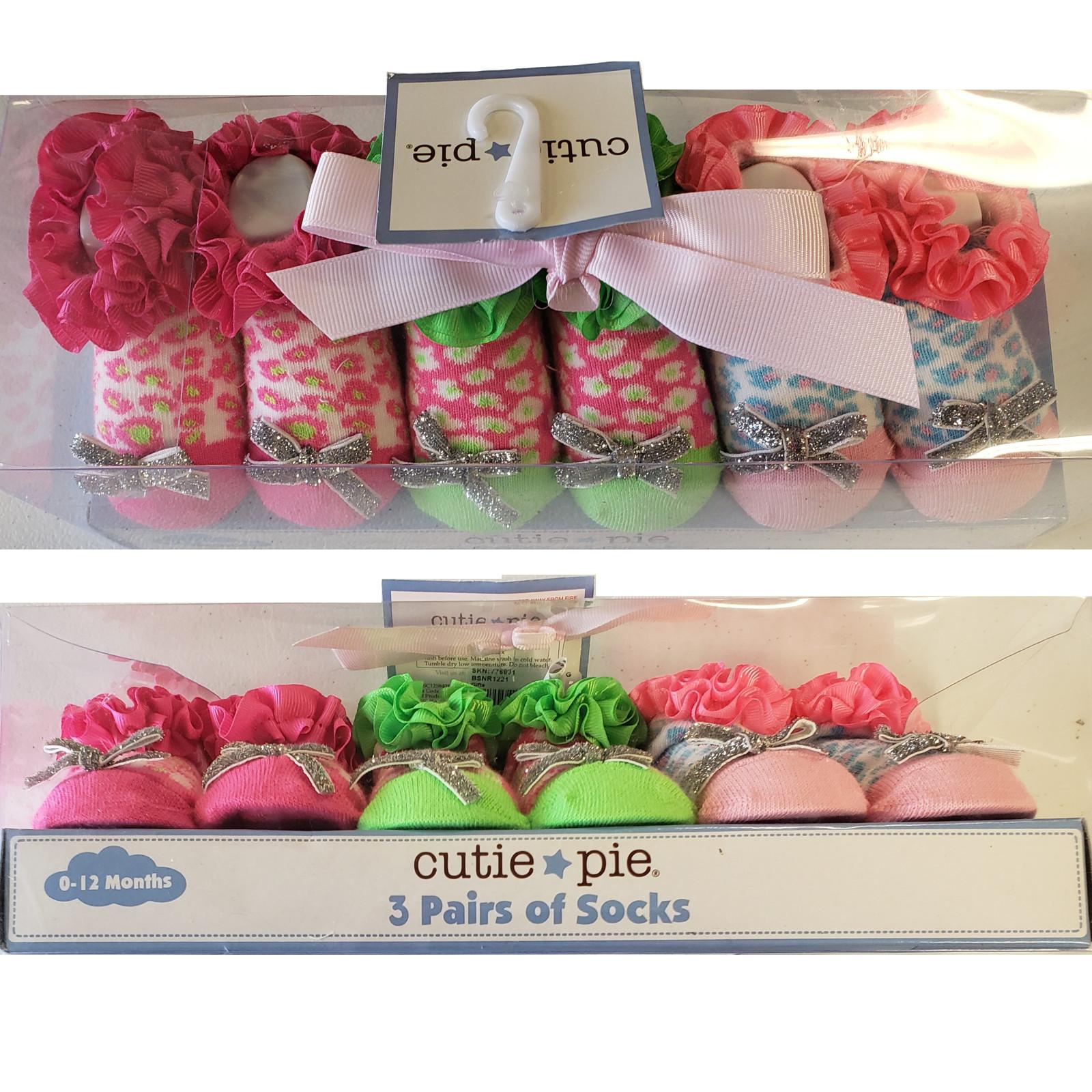 Cute Glam Cutie Pie Socks 0-12 months 3-Pair Gift Pack