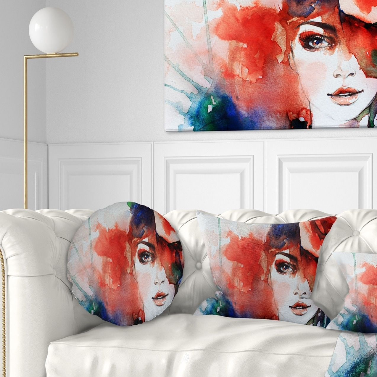 Designart CU6166-20-20-C Woman with Rose Illustration Throw Pillow 20 Inches Round