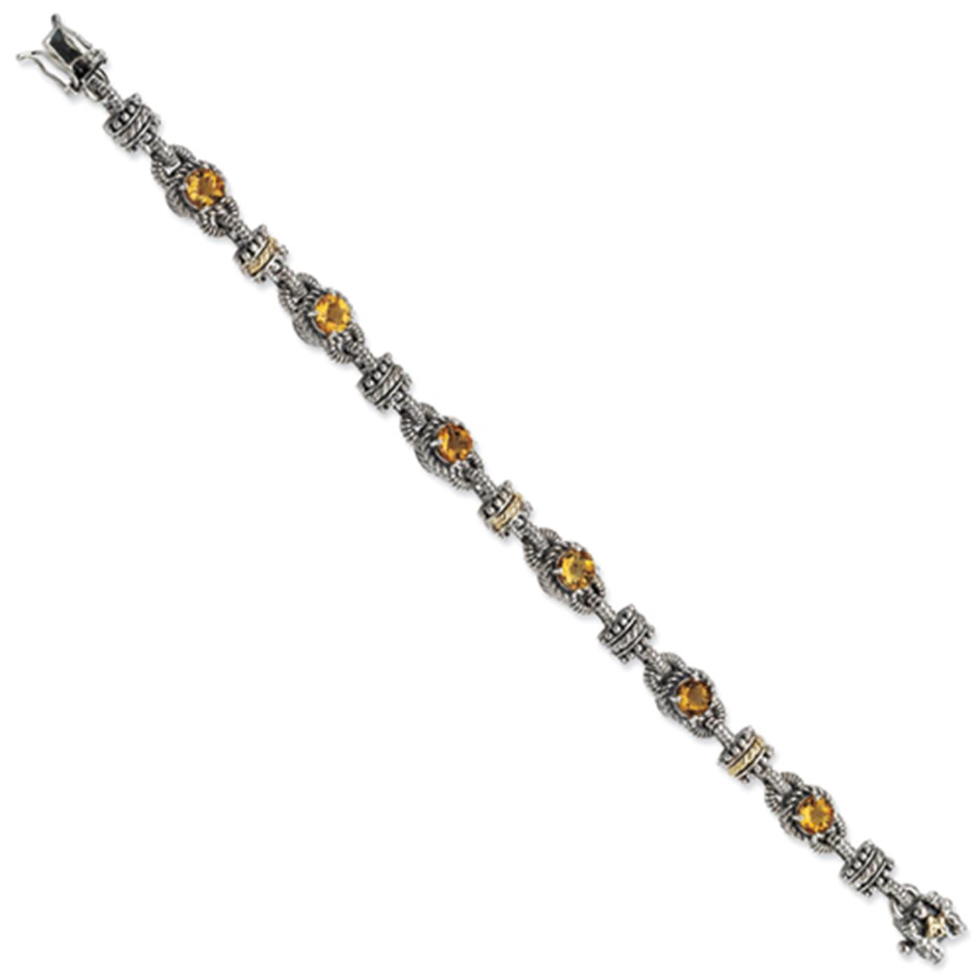 "Shey Couture 925 Sterling Silver w 14k Citrine Antiqued Bracelet 7.5"" by Fusion Collections"