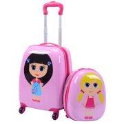 Costway 2Pc 12'' 16'' Kids Carry-on Luggage Set Suitcase Backpack School Travel Trolley ABS pinkpink&light greendark bluelight