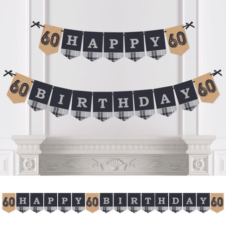 60th Milestone Birthday - Party Bunting Banner - Vintage Party Decorations - Happy Birthday
