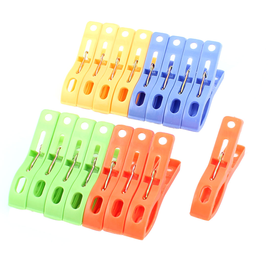 16 Pcs Household Plastic Nonslip Multipurpose Hanging Clothing Clothespins Clips Multicolour