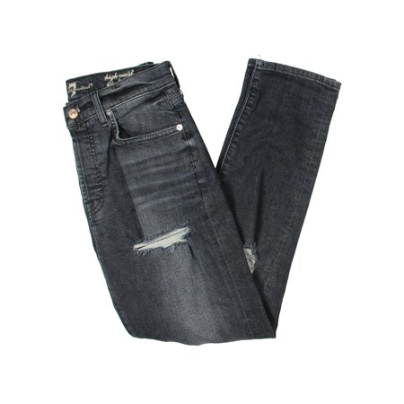 7 For All Mankind Womens Destroyed Button Fly Boyfriend (Seven For All Mankind Button Fly Jeans)