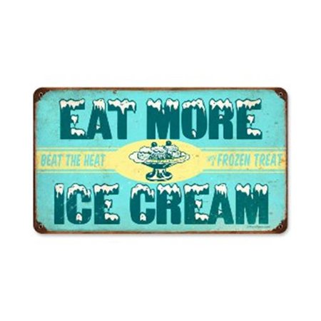 Past Time Signs RPC164 Ice Cream Food And Drink Vintage Metal Sign, 14 W X 8 H In.
