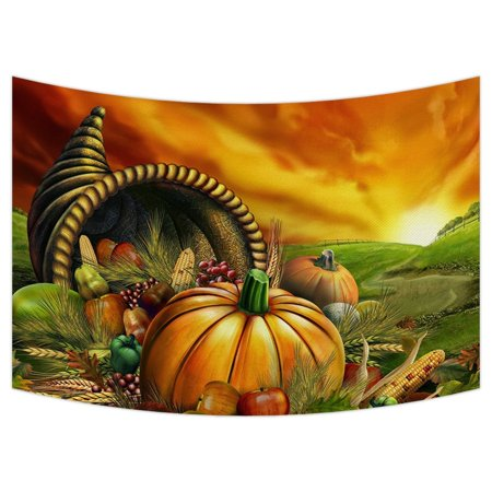 GCKG Thanksgiving Tapestry,Happy Thanksgiving Day,Harvest,pumpkin Wall Hanging Wall Decor Art for Living Room Bedroom Dorm Cotton Linen Decoration Size 90x60 inches