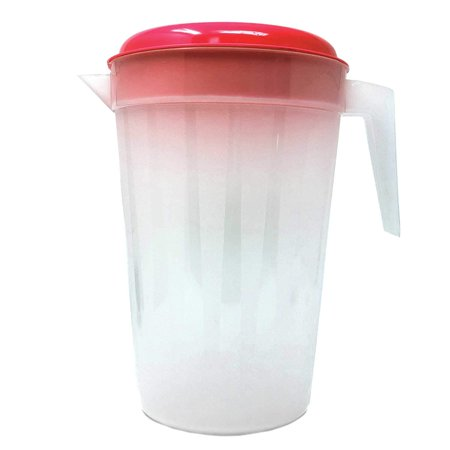 2 Pack Heavy Duty 1 Gallon/4.5 Liter Round Clear Plastic Pitcher Jug With Lid See Through Base & Handle For Water Iced Tea Beverages-10 X 7