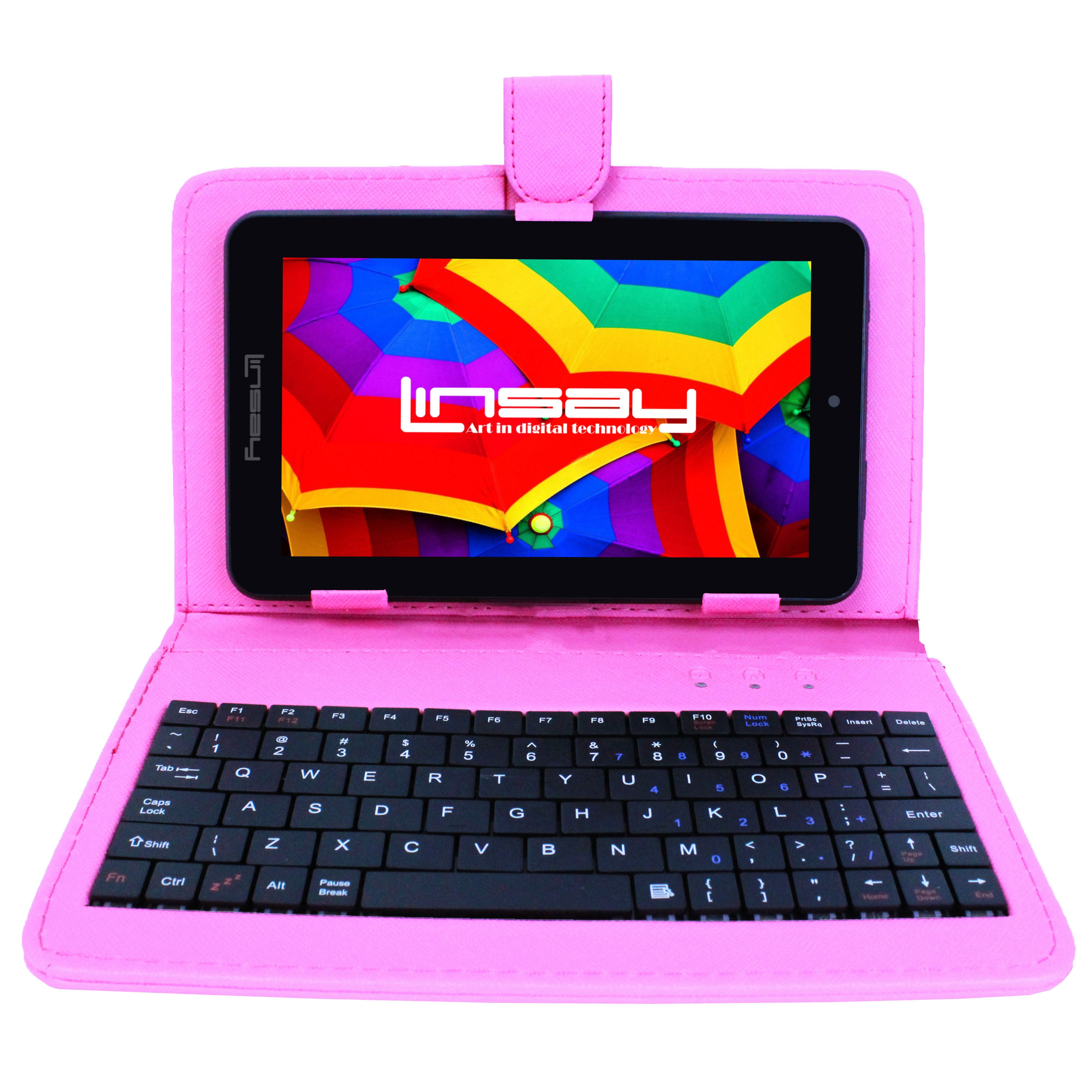 LINSAY 7 1280x800 IPS Touchscreen Tablet PC Featuring Android 4.4 (KitKat) Operating System Bundle with Pink Keyboard