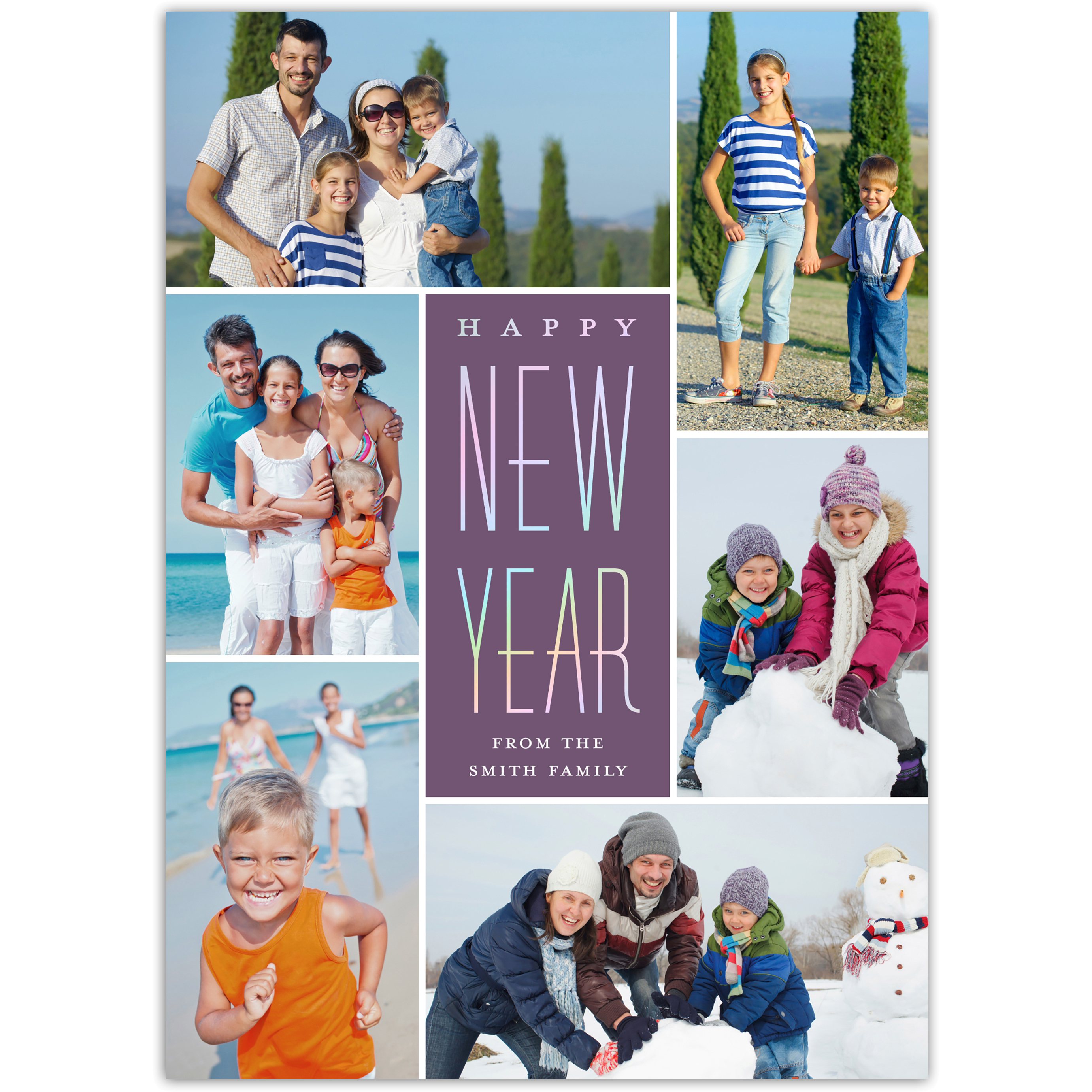 Iridescent New Year - 5x7 Personalized New Year Card