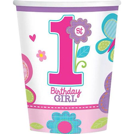 Sweet 1st Birthday Girl 9oz Cups (18 Pack) - Party Supplies - First Birthday Party Ideas Girl