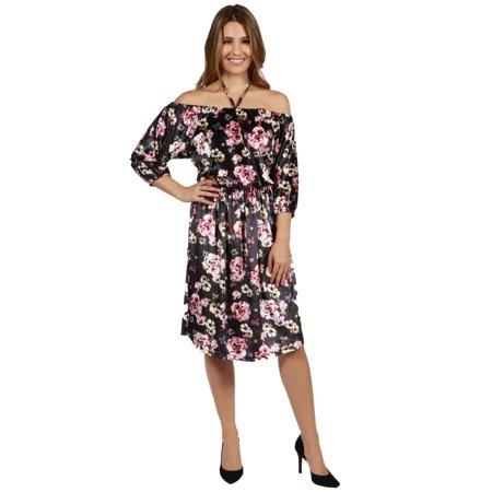 24sevenComfort Apparel Chloe Velvet Halter Dress