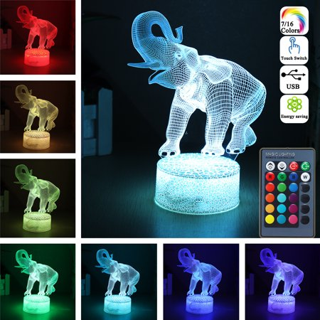 3D LED Night Light 16 Colors Touch Switch Remote Control Elephant Table Bedroom Lamp Home Decor Birthday Christmas Gift