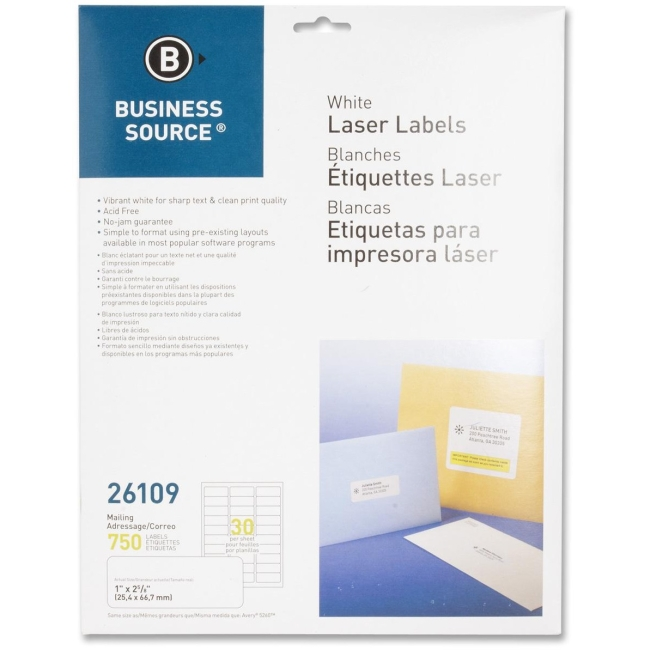 Business Source Mailing Labels, Laser, 1''x2-5/8'', 750 per Pack, White (Set of 2)
