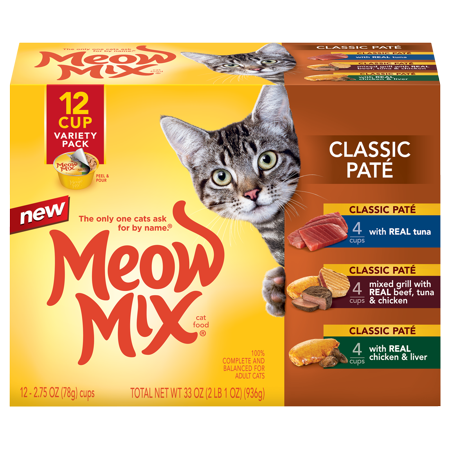 Meow Mix Classic Pate Wet Cat Food Variety Pack, 2.75-Ounce, 12-Pack - Halloween Cat Meow Sound
