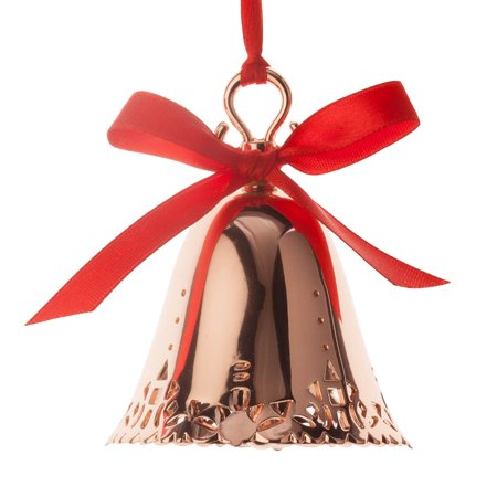 Rose Gold Tone Christmas Bell Ornament