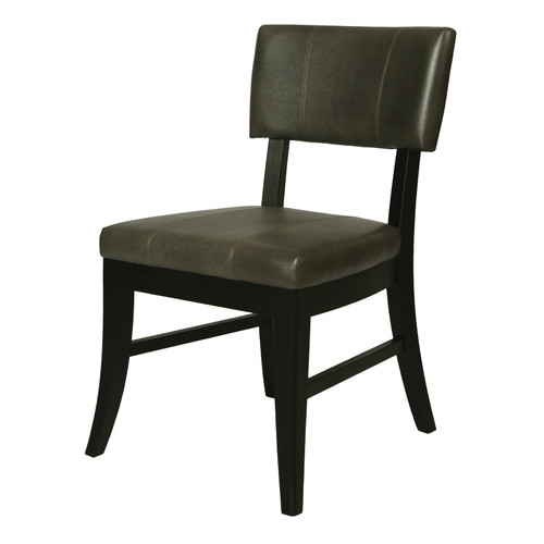 Pastel Furniture Eritrea Dining Chair in Bonded Dark Gray Leather by Pastel Furniture