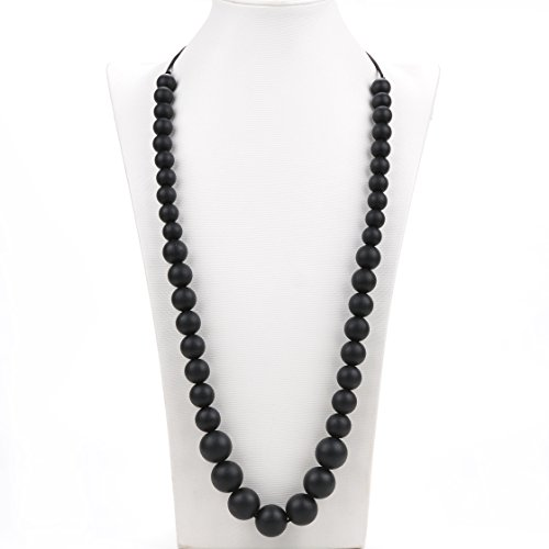 Consider It Maid Silicone Teething Necklace for Mom to Wear Baby Love Black FREE E-BOOK BPA FREE and FDA Approved