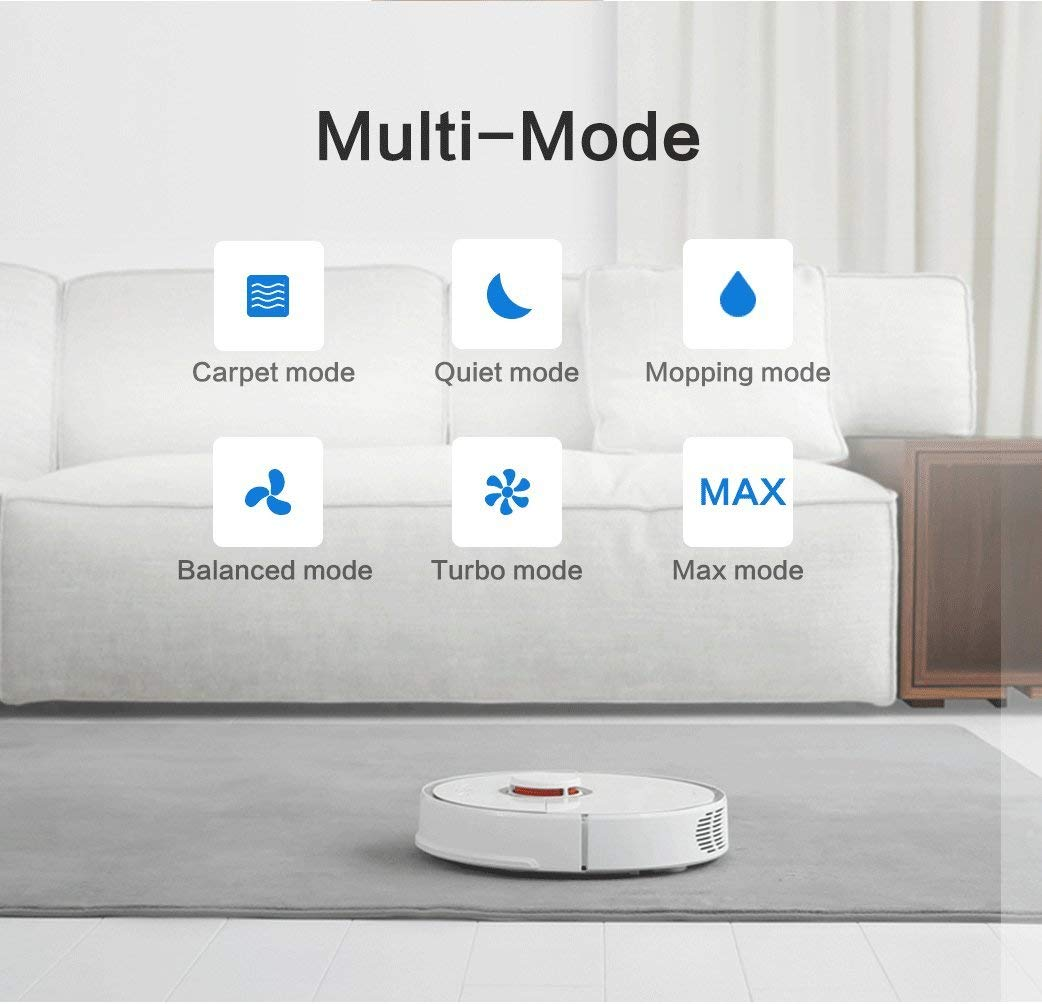 Roborock S50 Xiaomi Robotic Vacuum and Mop Cleaner, 2000Pa Super Power  Suction &Wi-Fi Connectivity and Smart Navigating Robot Vacuum with 5200mAh