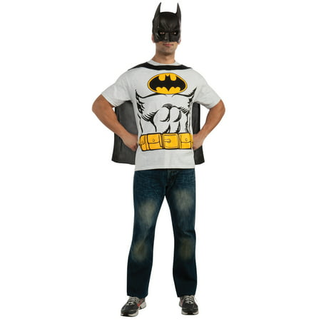 Halloween Theme Ideas For Work (Batman T-Shirt Adult Costume Kit Top Movie Comic Superhero Theme Party)