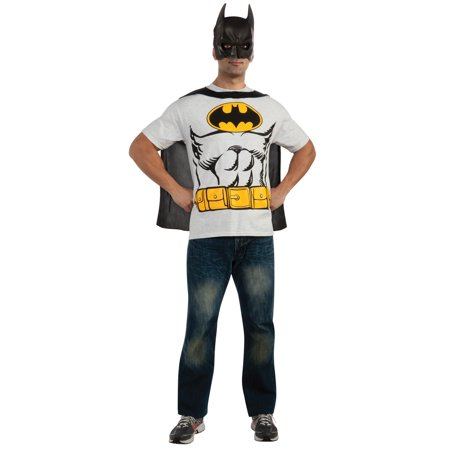 Hero Halloween Costumes (Batman T-Shirt Adult Costume Kit Top Movie Comic Superhero Theme Party)