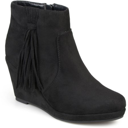 Brinley Co. Womens Faux Suede Tassel Round Toe Wedge Boots ...