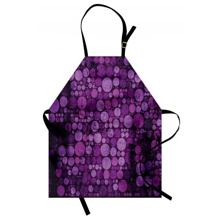 70s Backdrop (Indigo Apron Retro Style Vintage 60s 70s Inspired Dots Circles on Grunge Backdrop, Unisex Kitchen Bib Apron with Adjustable Neck for Cooking Baking Gardening, Eggplant Purple and Lilac, by)