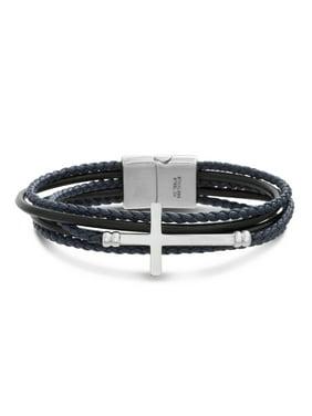 Mens Steel Cross Station Braided Multi Strand Leather Bracelet